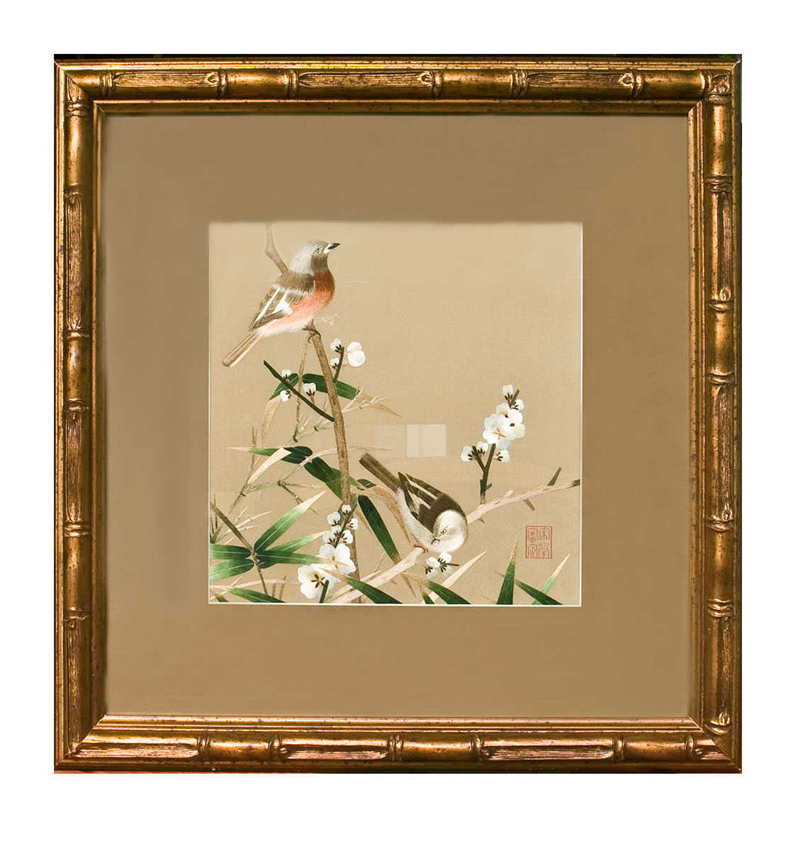 Framed painting of birds