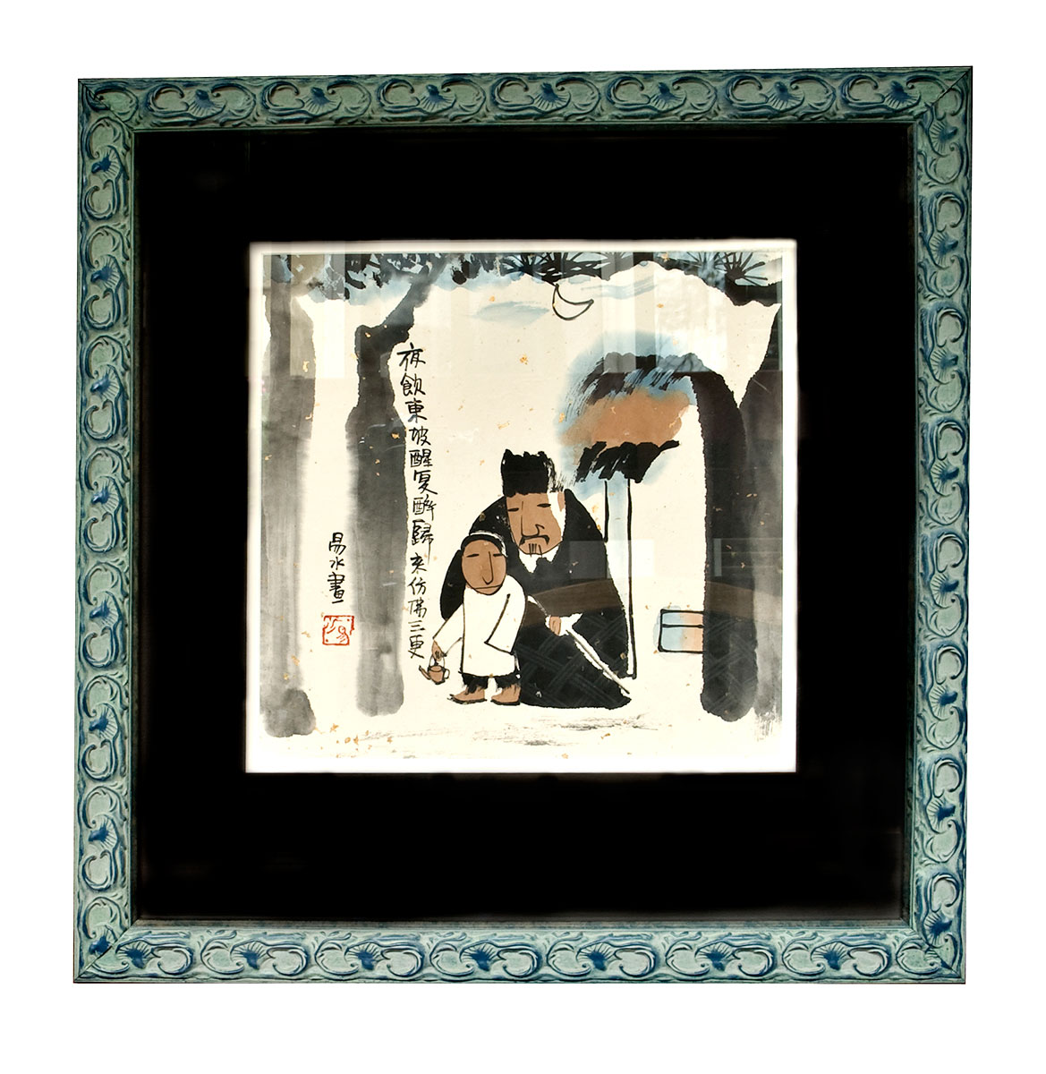 Framed Asian painting